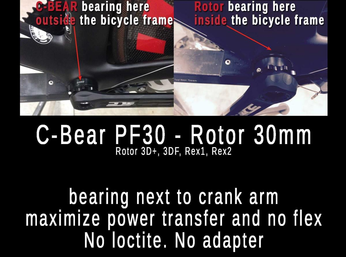 C-bear PF30 Rotor Crank No loctite Max. power transfer